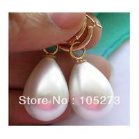 Charming Natural Shell Pearl Jewelry Huge 15X20mm Drip White South Sea Shell Pearl Dangle Earrings 14k