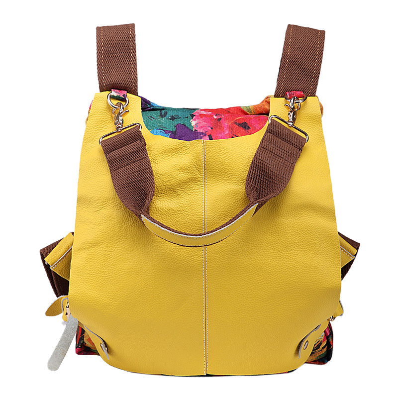 Women Multifunctional Genuine Leather Backpack Travel Casual Canvas Backpack Floral Rucksack Large School Bag For Teen