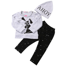 3pcs New Toddler Baby Boy Girl Rabbit Long Sleeve Hooded Sweatshirt Pants Hat Outfits Set