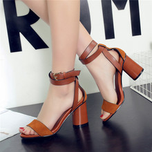 Fashion 2016 summer peep toe sandal sexy women's ankle strap Roman shoes ladies genuine leather sandals women high heel