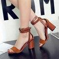 Fashion 2016 summer peep toe sandal sexy women's ankle strap Roman shoes ladies genuine leather sandals women high heel