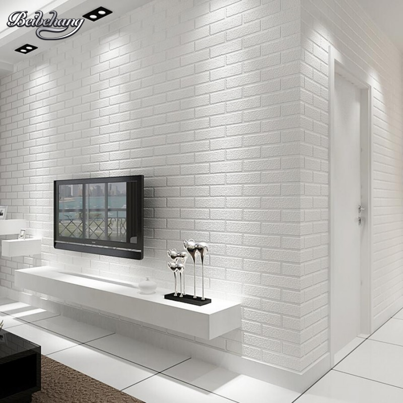 Beibehang White brick wall bedroom dining room wallpaper modern 3D wallpaper home decoration wallpaper for walls 3 d behang