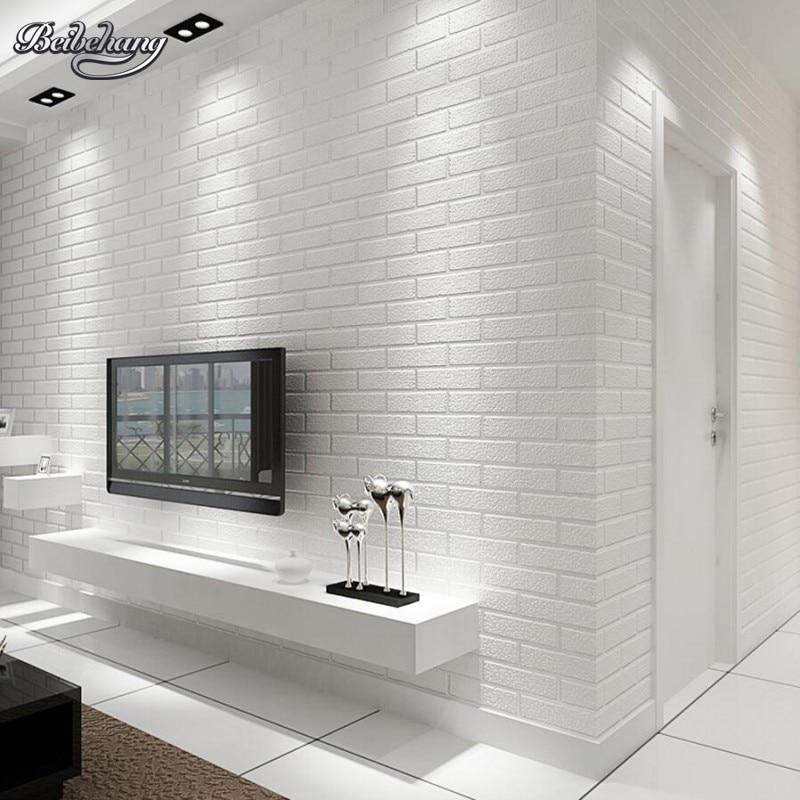 все цены на Beibehang White brick wall bedroom dining room wallpaper modern 3D wallpaper home decoration wallpaper for walls 3 d behang онлайн