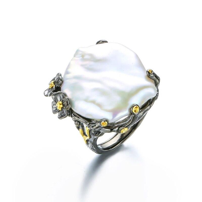 925 sterling silver 26 millimetri perla Barocca anelli fatti a mano vintage Barocco naturale anelli per le donne Barocco della perla dei monili di regalo di nozze-in Anelli da Gioielli e accessori su  Gruppo 2