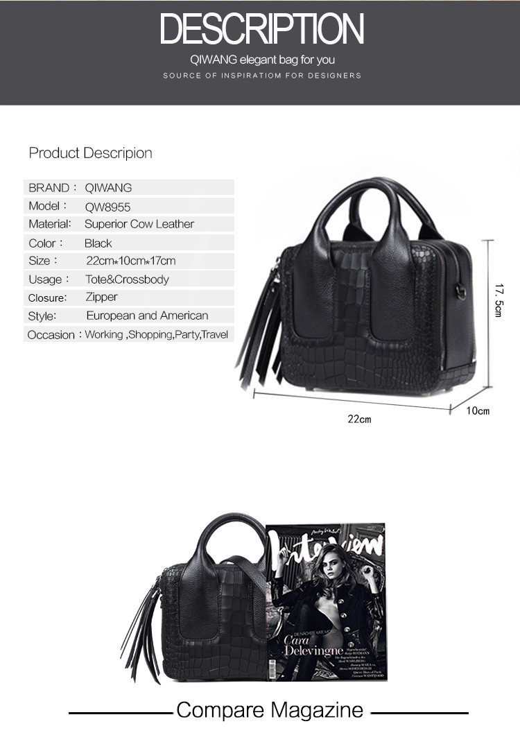 Qiwang Nice Box Bags Luxury Fashion Women Lay Bag 17 Italian Crocodile Handbags Purse Leather Lady Hand Collection Bag 1