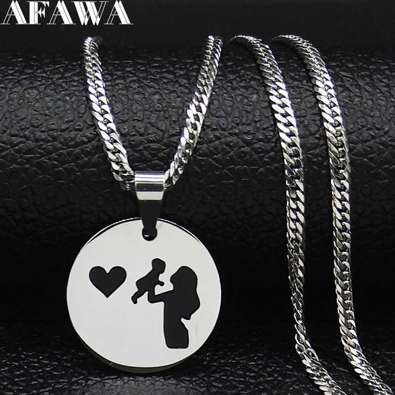 2019 Fashion Mom and Beby Stainless Stee Necklace for Women Silver Color Necklaces & Pendants Jewelry cadenas mujer N19221