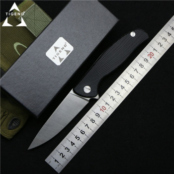 TIGEND Hati 95 Flipper folding knife D2 blade G10 + steel handle camping hunting outdoor survival pocket Kitchen knives edc tool 1