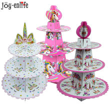 1set Birthday Party Decoration Rainbow Unicorn 3-tier Paper Cake Stand Baby Shower Unicornio Party Cupcake Stand Holder Supplies(China)
