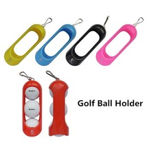 Mini Portable Colourful Plastic Clip On Golf Ball Holder Pouch Bag / Can Hold 3 Balls Golfer Aid Tool Gift Golf Accessories