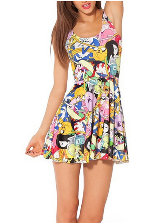 Women Pleated Dress Cartoon Adventure