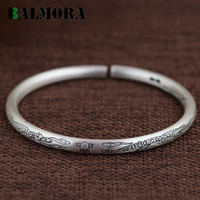 BALMORA 100 Real 990 Pure Silver Vintage Dragon Open Bangles For Women Men Animal Pattern Jewelry