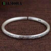 BALMORA 100 Real 990 Pure Silver Vintage Dragon Open Bangles For Women Men Animal Pattern Jewelry