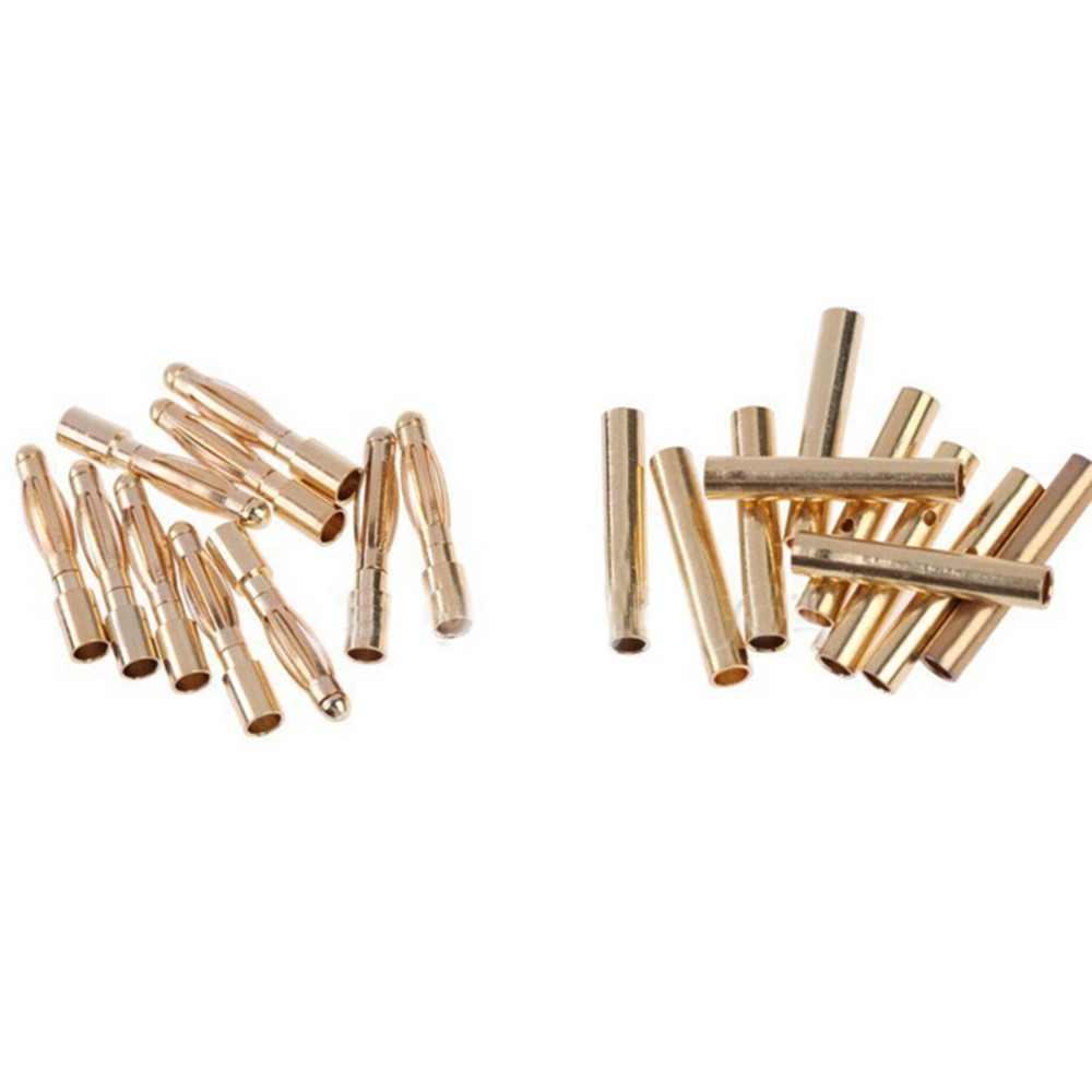10/20 пар/партия 2 мм 2,0 золото медь бесщеточный двигатель вилка типа «банан» Разъем покрытием для ESC батарея