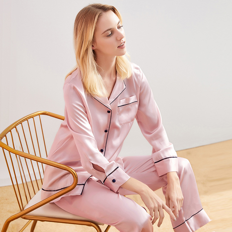 Pink Vs Soft Satin Pajamas Set 100% Silk Pajamas for Women Sleepwear Pyjamas Loungewear Women Home Clothes Blue pizama damska