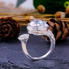 Huitan-bague de mariage en pierre CZ ajustable, anneau pour femmes, bijou de mode brillant plaqué argent, pour anniversaire redimensionnable