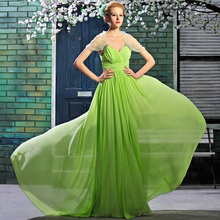 New Charming A-linie Ärmellose Bodenlangen Chiffon Abendkleid Lange V-ausschnitt Drapiert Abendkleid Formale Kleid Falten Vestido De F1398