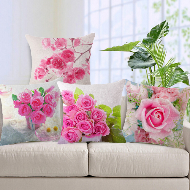 Maiyubo Wholesale Spring Fashion Rose flower Printed Pillow Cushion Cover Linen Car-Cover for Sofa Vintage Car Decorative