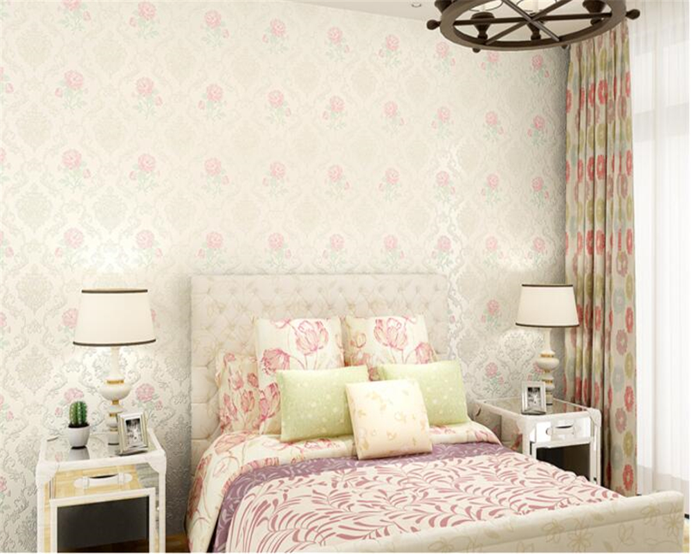 beibehang Nonwovens papel de parede Fine Flush Embossed 3d Wallpaper Rose Fresh Pastoral Bedroom Living Room Wall paper behang beibehang nonwovens healthy fashion