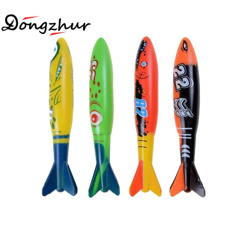 4 Pcs Pack Torpedo Rocket Throwing Toy Swimming Pool