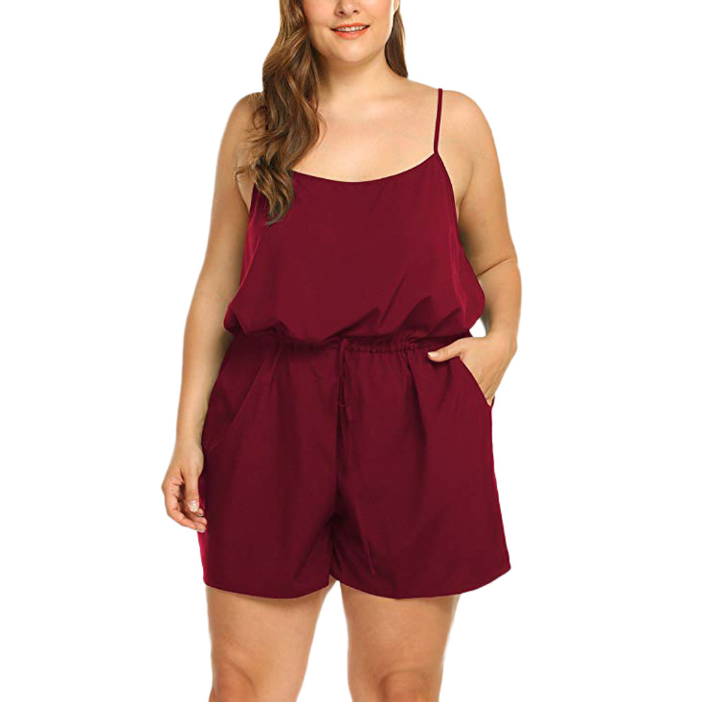 Casual Rompers Jumpsuit Shorts Sexy-Strap Female Plus-Size Summer Women Sleeveless Solid title=