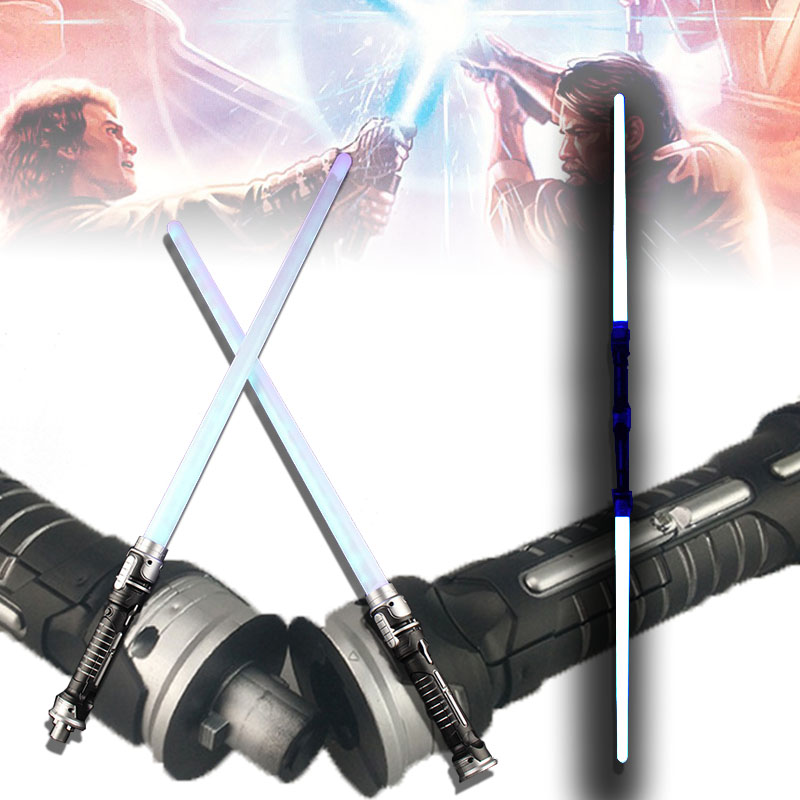2pcs/set Star Wars Led Flashing Light Sword Toys Cosplay Weapons Double Sabers kids toys ...