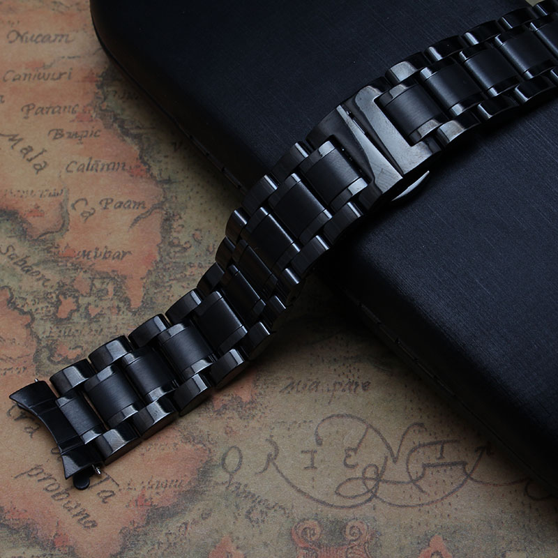 Black color Pure Solid Stainless Steel Watch Band Strap 14 15 16 17 18 19 20 21 22 23mm Watchband accessories replacement common 14 16 17 18 19 20 21 22 23 24mm universal watch band strap stainless steel watchband bracelet ll 17