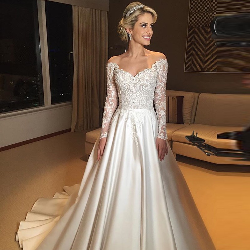 2019 Vintage A Line Off The Shoulder Wedding Dresses