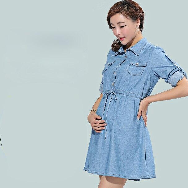 b5182cff64b25 Denim casual long sleeve maternity dress autumn pregnant dress free  shipping women's denim dress Jeans dress-in Dresses from Mother & Kids on  Aliexpress.com ...