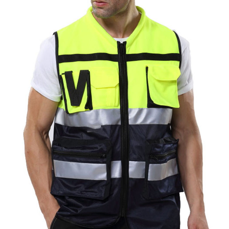 Reflective Vest Mesh Breathable Construction Safety Protective Clothing With Pockets Road Traffic Warning Fluorescent Vest BX013