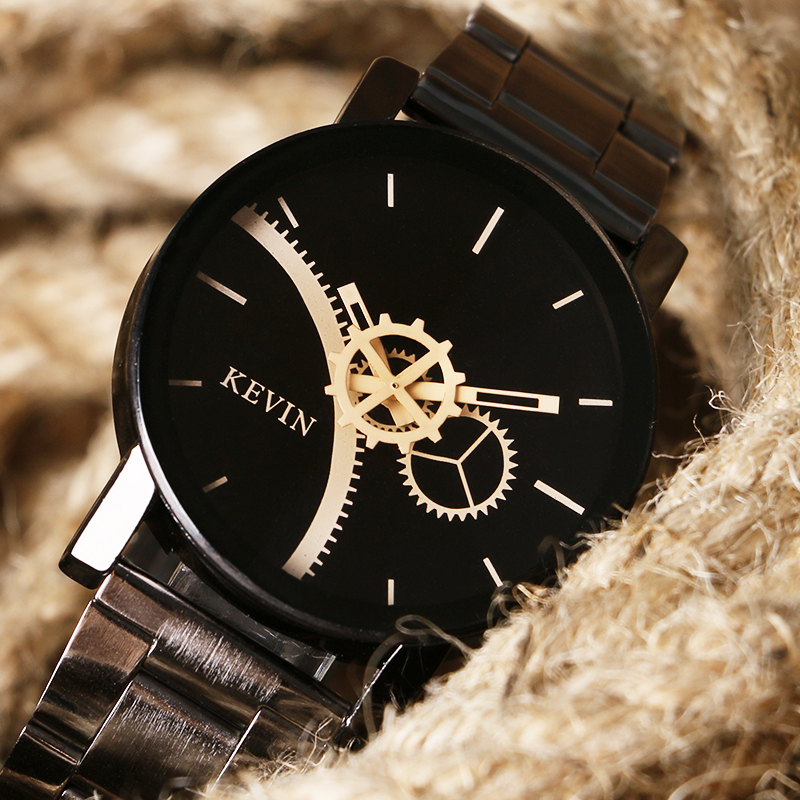 Fashion Brand Kevin Women Watches Casual Black Round Dial Stainless Steel Band Quartz Wrist Watch Mens Gifts Relogios Feminino розетка 1 местная с з со шторками hegel master ip44 слоновая кость