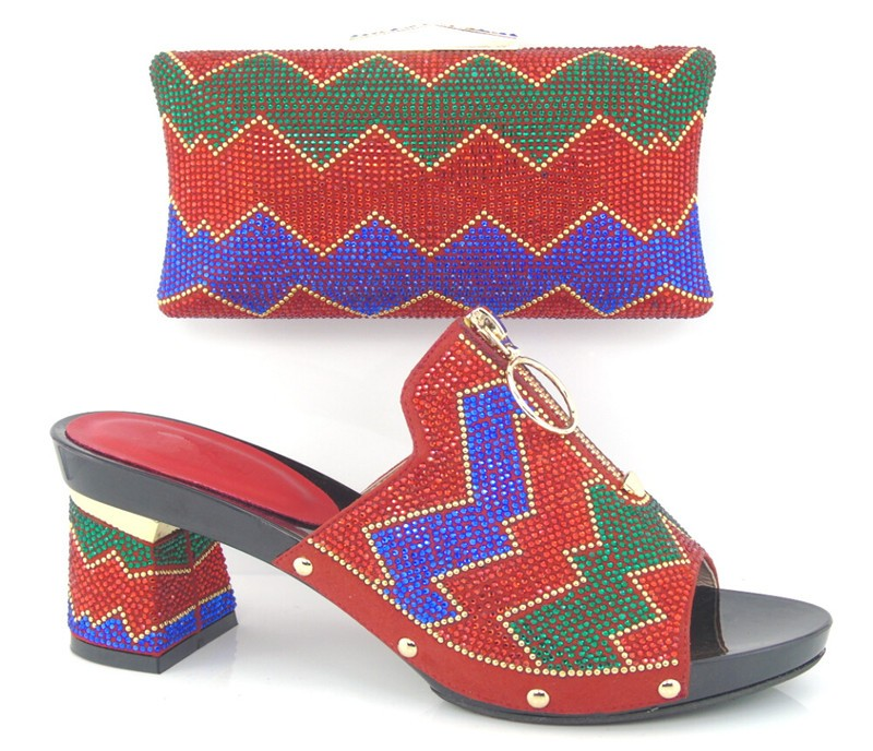 ФОТО 2017 Latest African Shoe With Bags Set Colorful Sandal Italian Shoe With Matching Bag For Party And Wedding High Heels SG16-102