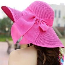 Summer Style Women Foldable Wide Large Brim Beach Sun Hat Vacation Big Bow Straw Cap For Ladies Elegant Hats Chapeau Femme JS454