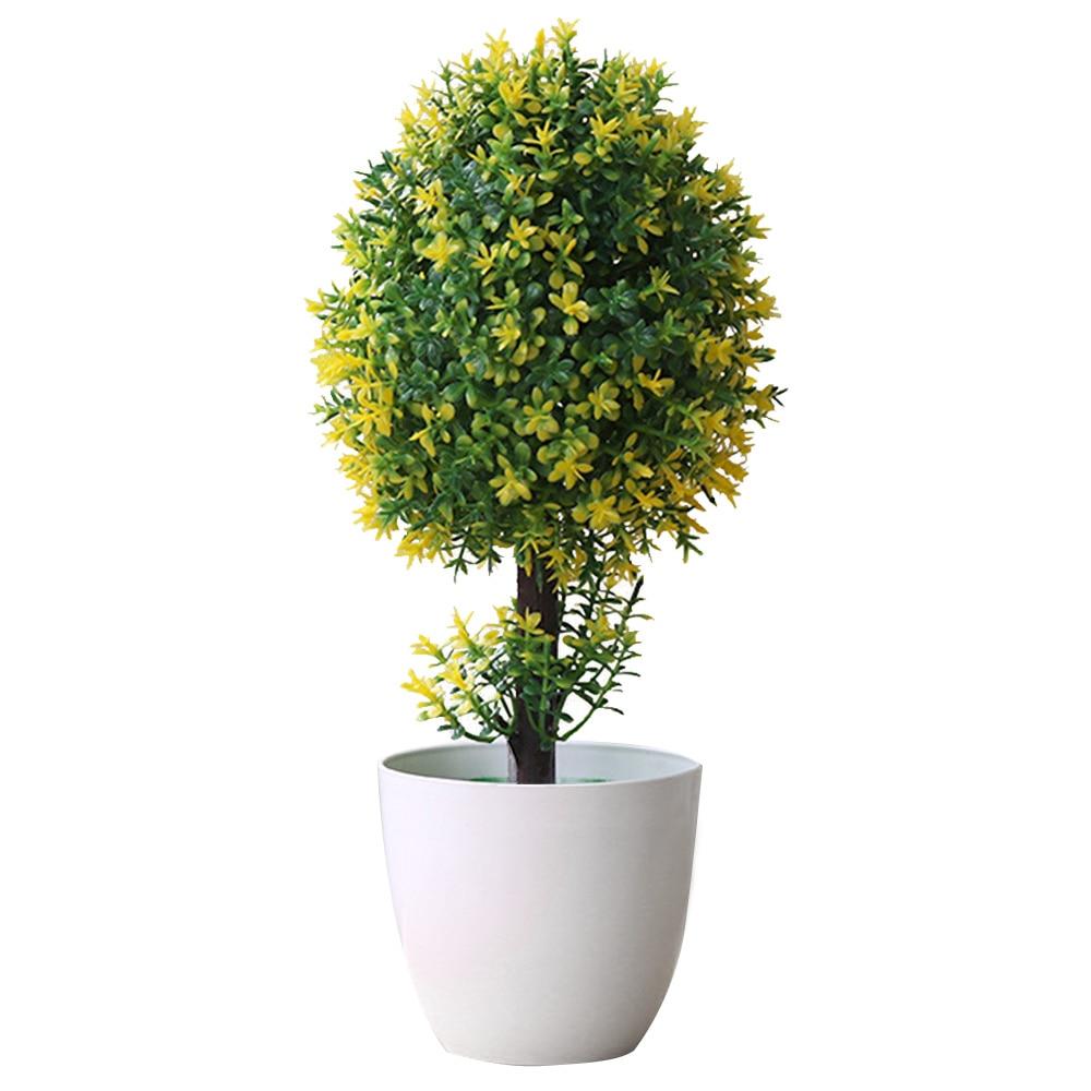 Вечнозеленое дерево для дома, свадьбы, праздника, декоративный искусственный бонсай венок с искусственными цветами искусственный бонсаи искусственный цветок растение дерево - Цвет: yellow