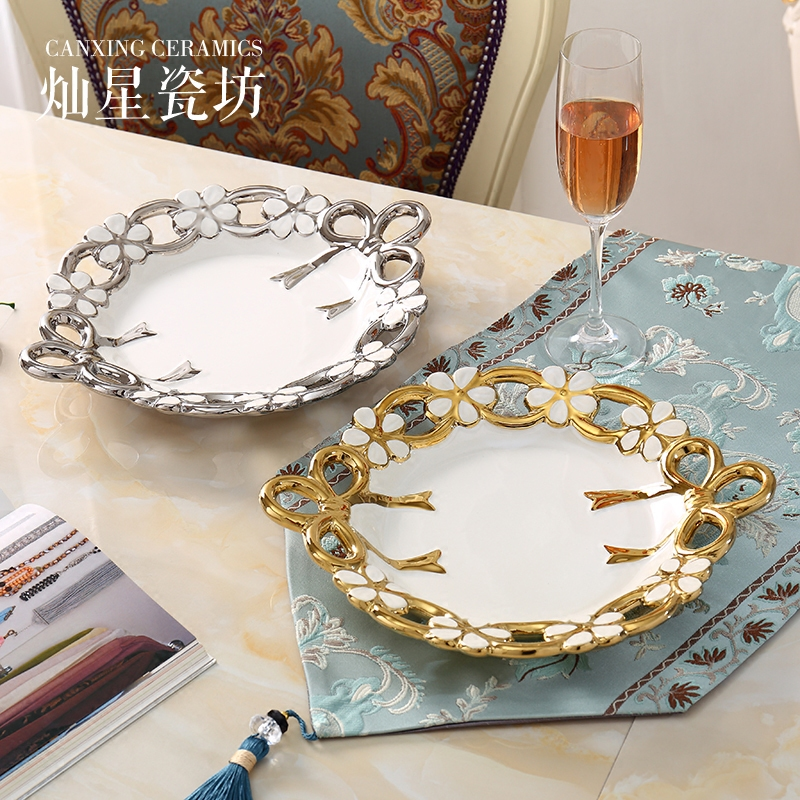 Wedding Reception Food Trays: Europe Round Gold Plated Fruit Tray Snack Tray Food