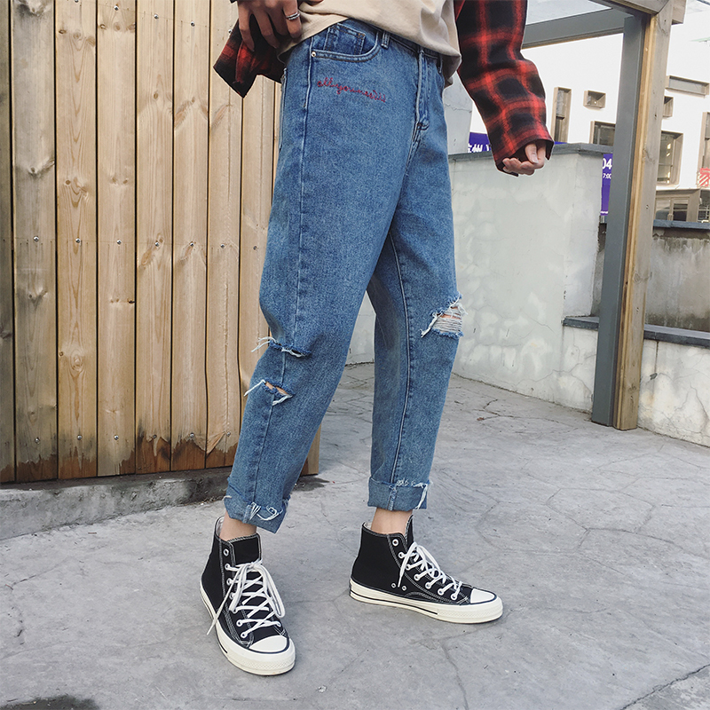 2018 homme casual solid color Summer Homme New Fashion Zip Fastener Pants Loose Straight Pants classic jeans men Blue M-XXL