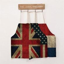 1 Stück Heimtextilien Kreative Baumwolle Leinen Nationalen Flagge Schürzen Neuheit BBQ Party Reinigung Schürze Für Erwachsene