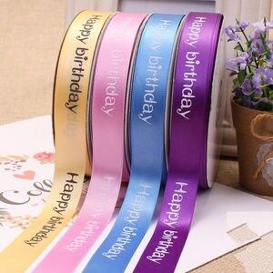 Новая ширина 2 см Полиэстеровая лента для торта магазин выпечки печатные ленты цветочный с днем рождения упаковка подарок diy галстук ручной ...