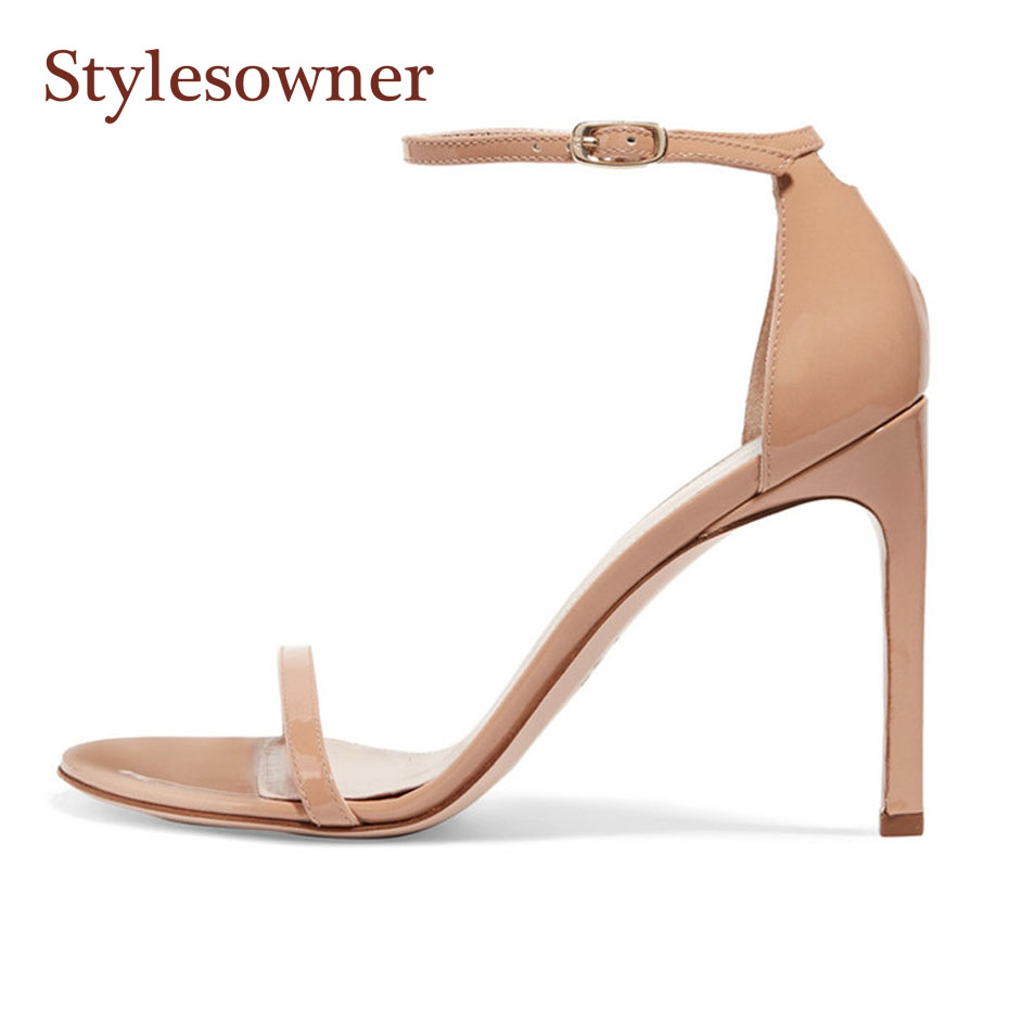 Stylesowner fashion concise buckle strap ladies party shoes summer sandals sexy open toe stiletto heel women runway style sandal stylesowner elegant lady pumps sandal shoe sheepskin leather diamond buckle ankle strap summer women sandal shoe