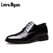 2017 High Quality Men Dress Shoes Men Flats Black Leather Oxford Shoes Lace Up business wedding