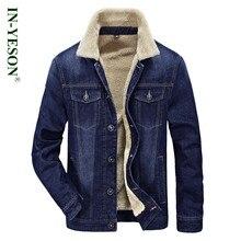 Merek Musim Dingin jaket pria IN-YESON kerah bulu menebal jins denim jaket  pria gaya c38e1a231c