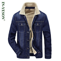 Brand Winter Jacket Men AFS JEEP Fur Collar Thicken Denim Jacket Men European Style Warm