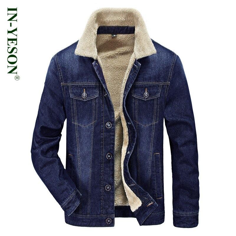 nuovo concetto 9261f bd031 US $56.95 6% di SCONTO Uomini giacca Invernale di marca IN YESON collo di  pelliccia addensare giacca di jeans da uomo stile Europeo caldo giacca di  ...