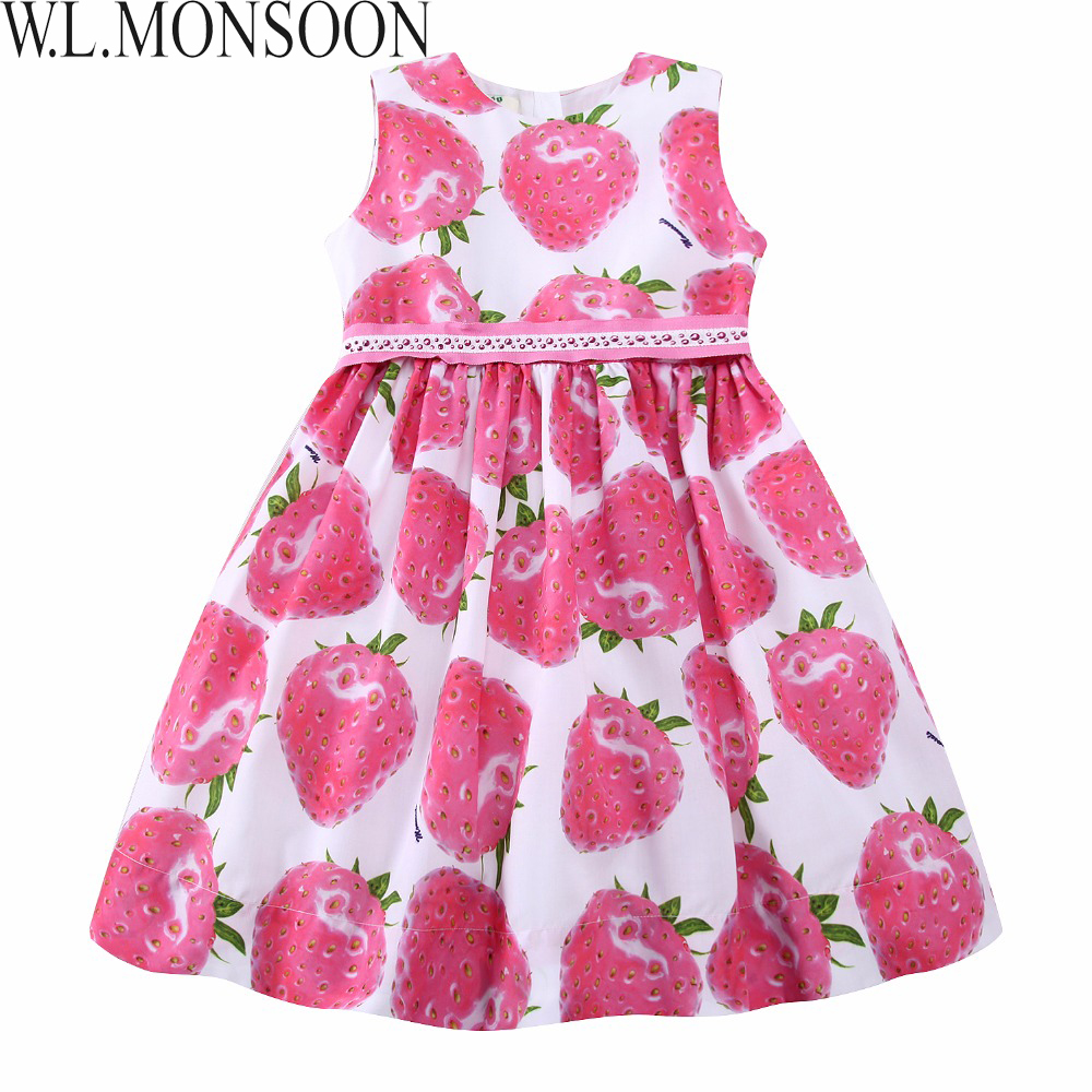 W.L.MONSOON Girls Summer Dress with Beading Sashes 2017 Brand Robe Enfant Kids Clothes Costumes Princess Pink Strawberry DressesW.L.MONSOON Girls Summer Dress with Beading Sashes 2017 Brand Robe Enfant Kids Clothes Costumes Princess Pink Strawberry Dresses