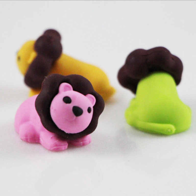 1Pcs Stationery Supplies Kawaii Cartoon Pencil Erasers cute lion Erasers office Correction Supplies Kid learning Gifts