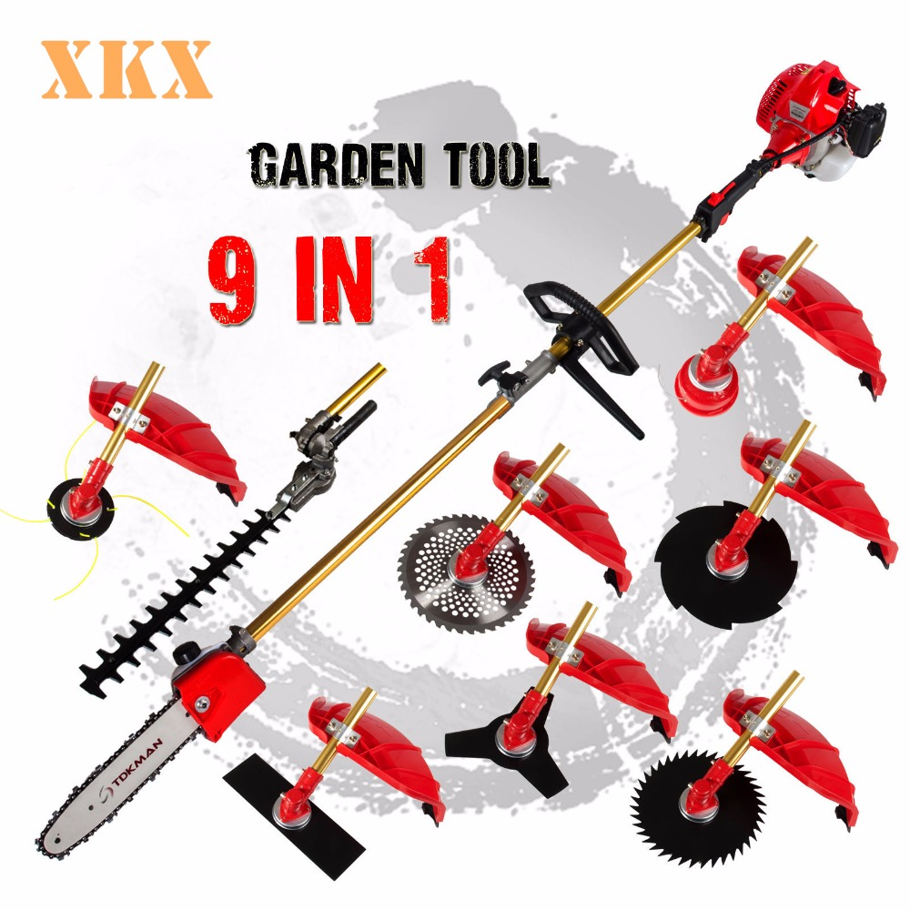 High Quality 52cc  9 in 1 Petrol Hedge Trimmer Chainsaw Strimmer Brush Cutter Extender Garden Tool factory selling directly