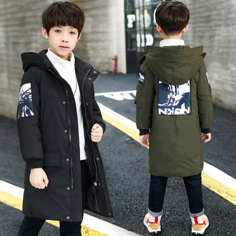 Winter Jackets For Boys Teenager Winter Warm Cotton Parkas 2018 Children's Down Jacket New Fashion Big Boys Long Coats Kids Teen цена
