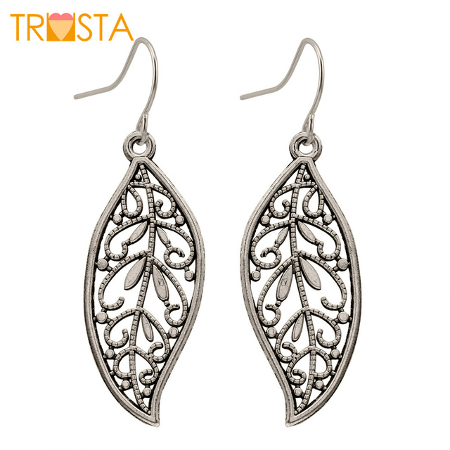 "Fashion Jewelry Silver Tone1.6""X0.7"" Leaf Dangle Earring Gift For Women Lady Who"
