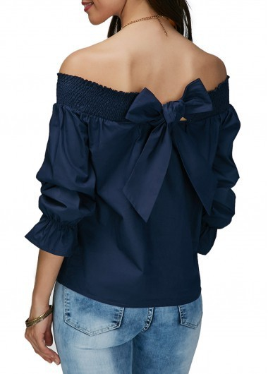 2018 Summer Elegant Women's Blouses Shirts  Sleeve Bow Slash Neck Off Shoulder Tops Casual Loose Blusas For Female