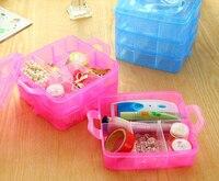 Cuentas Caja de Plástico Transparente caja de Maquillaje Cosmético Portable 18 Grids Organizador Del Almacenaje de Contenedores con Divisores Ajustables para Las Niñas