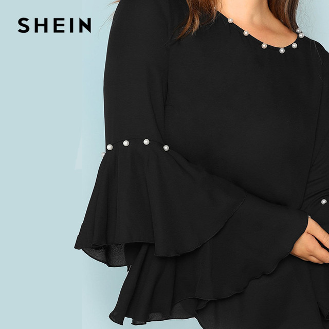 SHEIN Pearls Embellished Layered Ruffle Sleeve Plus Size Women Black Blouse 2018 Fashion Beaded Detail O-Neck Top Blouse 4